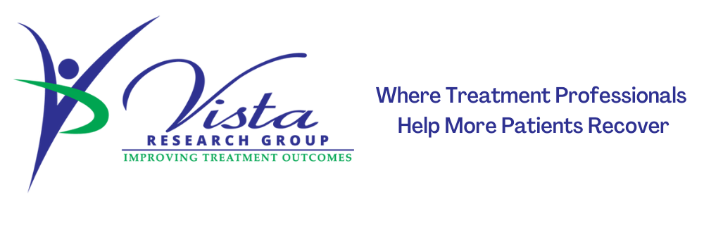 """The Vista Research logo, """"improving treatment outcomes"""". And blue text on the right that reads 'Where Treatment Professionals Help More Patients Recover'"""