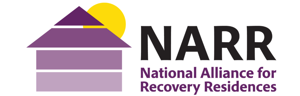 a graphic of a house with a sun, 'NARR. National Alliance for Recovery Residences'